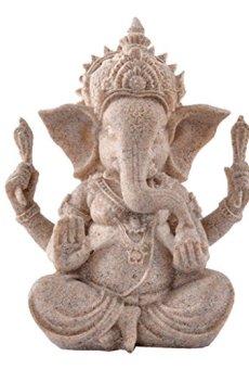 Estatua de Arenisca Ganesha Estatuilla escultura de Buda Elefante Hecha a Mano