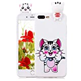 Custodia Cover per iPhone 8 Plus / 7 Plus [Non per iPhone 8/7], Silicone Gomma TPU Gel Cover Case Custodia Carina Cartone Animato 3D Disegni Bella Colorate Copertura per iPhone 8 Plus / 7 Plus,Hancda Cover Silicone Flessibile Morbida Antigraffio Resistente Bumper Ultra Sottile Antiscivolo Antiurto Shell Slim Case Protezione per iPhone 8 Plus / 7 Plus   Gatto Cute