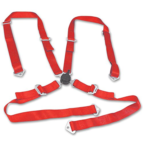 MODAUTO Arn矇s de Seguridad, Cintur籀n Seguridad Coche, 4 Puntos, Anclaje Pecho, 47mm, Universal, Modelo G471RD, Color Rojo