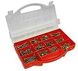 Connex DP8500085 Spanplattenschrauben-Sortimentskasten, TX Sternkopf-Antrieb, Senkkopf, 900- teilig, gelb-verzinkt