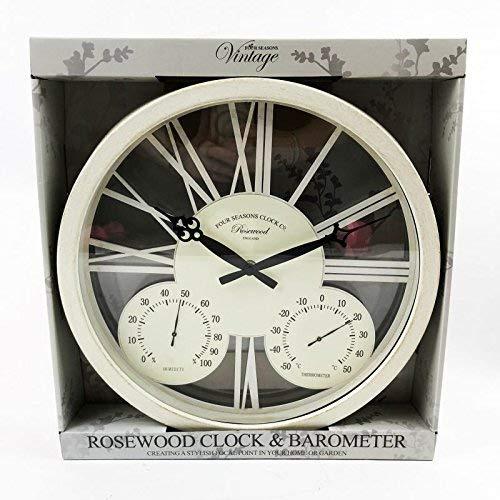 Kingfisher GCLOCK1 38,1 cm weiße Rosenholzuhr und Barometer, transparent, Einheitsgröße