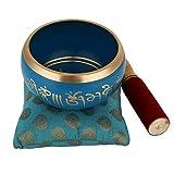 Juego de cuenco de meditación tibetana Om Mani, cojín y mazo de Zap Impex, azul, 10,2 cm