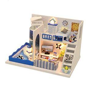 CUHAWUDBA Juguetes para Ni?Os DIY Doll House DIY Miniatura Dollhouse con Muebles Mu?Ecas para la Casa Regalo de Cumplea?Os Regalos Creativos M040, con Cubierta Antipolvo