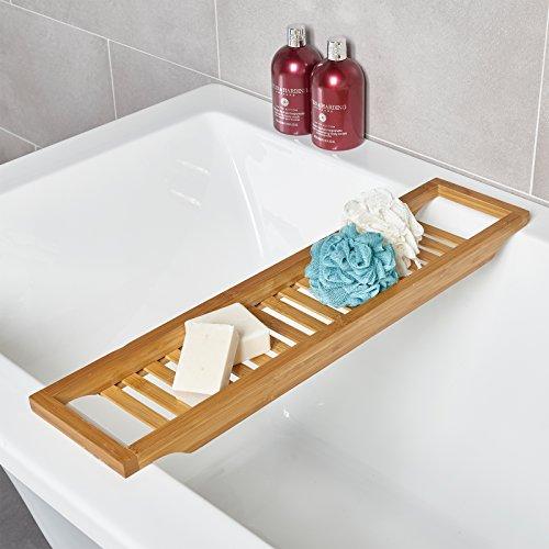 Portaoggetti per vasca da bagno, in legno di bambù, sottile e lussuoso. Ripiano per vasca da bagno...