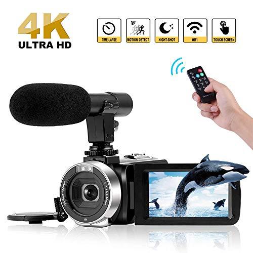 Videocamera 4K Videocamere Digitale WiFi con Microfono Full HD 1080P 30FPS 3'Videocamera Vlog Touch...