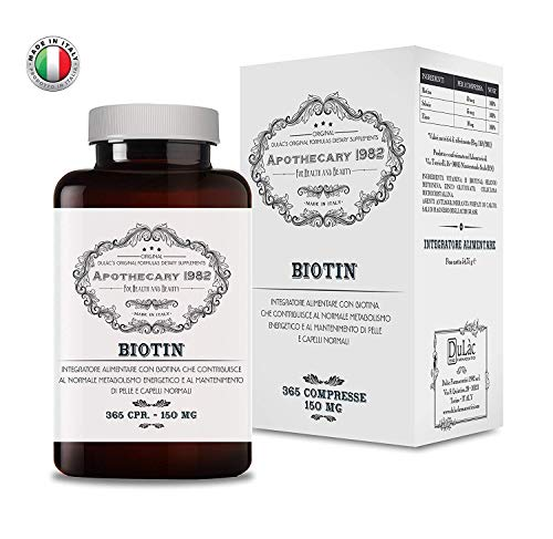 Apothecary 1982 - Biotina + Zinco + Selenio - 365 compresse - ALTO DOSAGGIO - Per la crescita di capelli e unghie - 100% Made in Italy - Notificato al Ministero della Salute Italiano