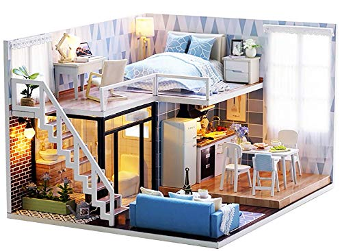 Webby DIY Modern Miniature Doll House with Lights (Multicolor)