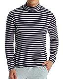MODCHOK Homme T-Shirt à Manches Longues Top Tee Pull Col Roulé Haut Slim Fit - Gris et Bleu - Taille XXL