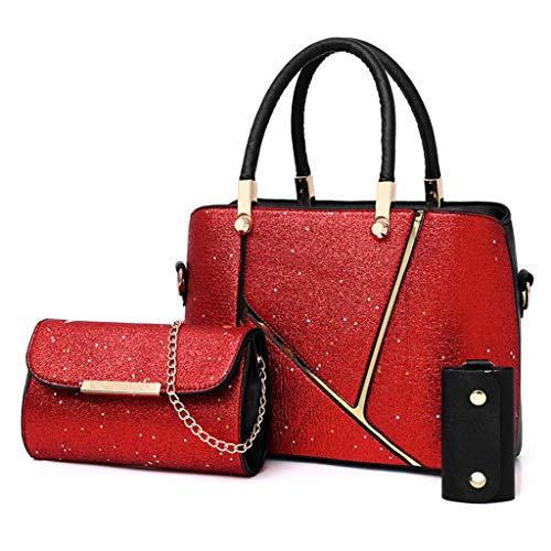 Lilicat 3 Pezzi Borsa Donna Paillettes Set Tracolla Spalla Borse Medio Grande Moda Elegante Tote...