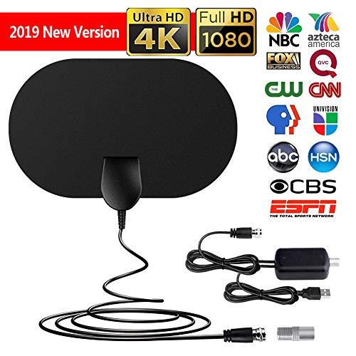 HD TVRadiusAntenne, Indoor Digitale HDTV-Antenne, 120 Meilen Reichweite, Superflache Antenne für DVB-T/DVB-T2/HD/SD/1080P FreeView, Verstärker mit USB Adapter (Oval)