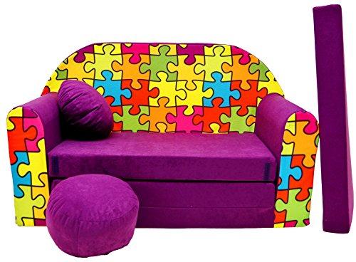 PRO COSMO G34Bambini Divano Letto con Pouf/poggiapiedi/Cuscino, Tessuto, Multicolore, 168x 98x 60cm
