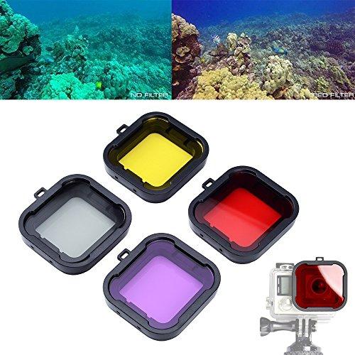 Asiv Dive e Scuba Filtro (Rossa + Giallo + Magenta + Grigio) Set di Accessori per GoPro Hero 3+ /4 (4 Pack)
