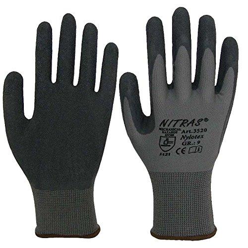 Nitras nylotex, Guanti da lavoro, 12paia di guanti in lattice, 3520EN388Cat 2Gr. 10