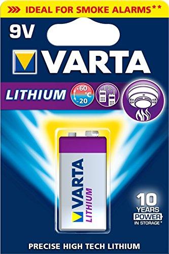 Varta Lithium 9V Block 6LR61 Batterien (geeignet für Digitalkamera Spielzeug GPS Geräte Sport- und Outdoor-Einsätze) 1er Pack