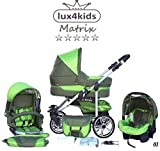 Chilly Kids Matrix II Kinderwagen Sommer-Set (Sonnenschirm, Autositz, Regenschutz, Moskitonetz, Schwenkräder)