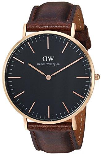 Daniel Wellington Herren Analog Quarz Uhr mit Leder Armband DW00100125