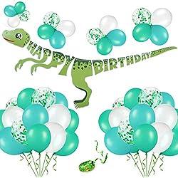 Phogary Kit de decoración Fiesta cumpleaños de Dinosaurio 52PCS: Pancarta de Feliz cumpleaños de Dinosaurio, Globos, Artículos de Fiesta para Niños Chicas Dino Jungle Jurassic Birthday
