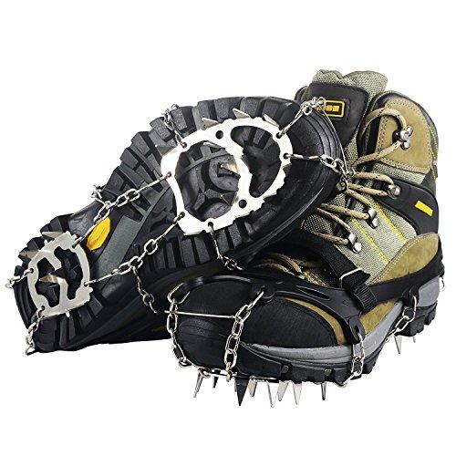 YDI 18 Dientes Crampones Acero Inoxidable Antideslizante Garras Cadena para Caminar Correr Escalar Sobre Nieve o Hielo, Tamaño L