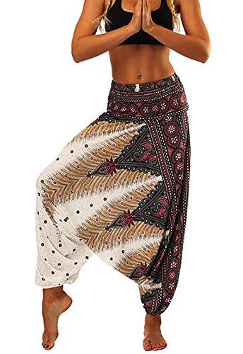 Pantalones de Yoga Mujer Harem Boho del Lazo del Pavo Real Flaral Funky 4560