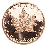 1 Unze (AVDP) .999 fein Kupfer - 1 Stück mit Motiv geprägt (Maple Leaf)