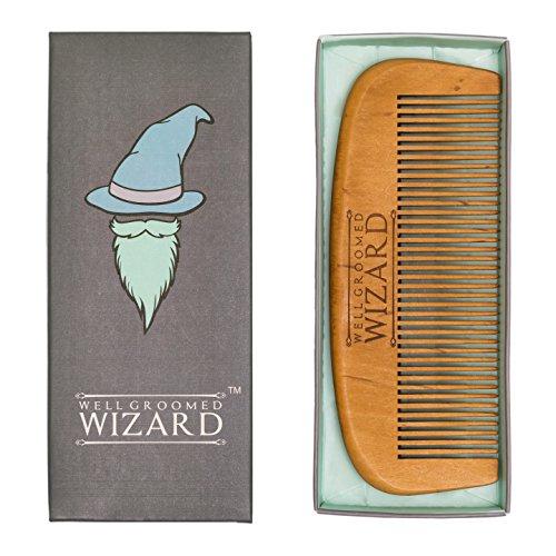Well Groomed Wizard Pettine Barba, di Legno Antistatico per la Barba, Baffi e Cappelli | Uso Con Olio, Balsami E Cera Il Perfetto Tascabile Alta Qualità Regalo