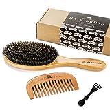 Cepillo de cerdas de pelo de jabalí, para conseguir un acondicionamiento natural del pelo, peine de...