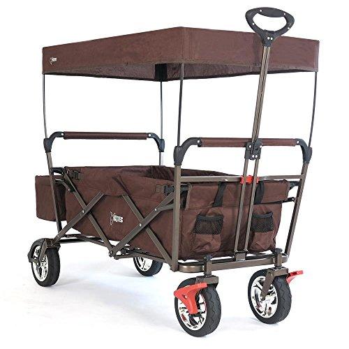 Fuxtec Faltbarer Bollerwagen FX-CT500 braun klappbar mit Dach, Vorderrad-Bremse, Vollgummi-Reifen, Hecktasche, für Kinder geeignet - Das Original mit GS-Prüfsiegel geprüfte Qualität !