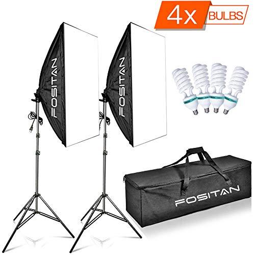 FOSITAN 50x70cm Professionale Softbox Kit 1600W 5500K Illuminazione Continuo kit Incluso 2M Light...