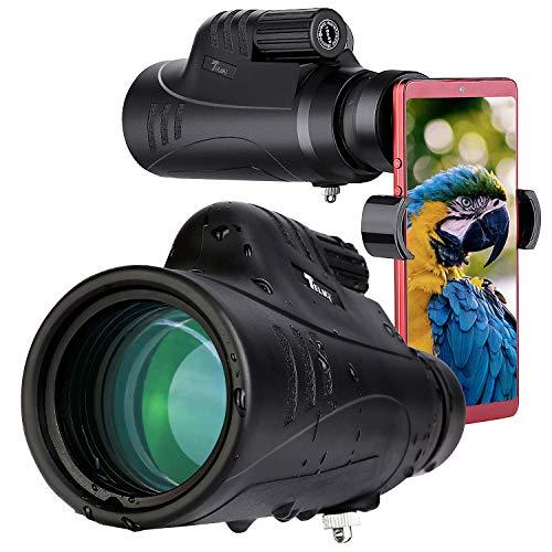 Basisch Monokulares:Telmu 10X42 Wasserdichtes Monokular-Stickstofffüllung mit 305ft Sichtfeld, Monokular Teleskop für Outdoor Reisen Vogelbeobachtung Jagd, Telefonhalter(75mm)&Transporttasche