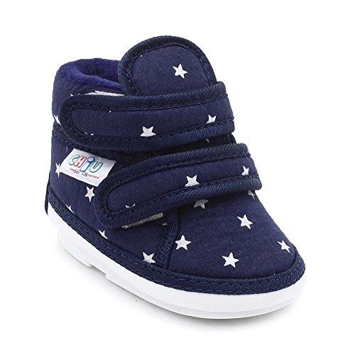 CHiU Unisex Chu with Double Strap Baby Boys & Girls Blue Booties-18-21 Months (C02-Star-Blue-6)