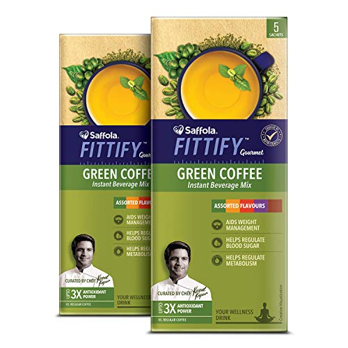 Saffola FITTIFY Gourmet Green Coffee Instant Beverage Mix, Assorted Pack, 2 X 10 g 4