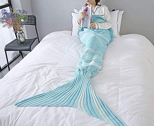 "ChezMax Knitting Wool Mermaid Tail Blanket Soft Thick Sleeping Bag for Living Room Birthday for Girls Sky Blue 27.6""x 55.1"""