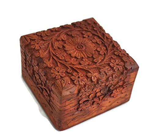 Craftgasmic Christmas Thanksgiving Gifts -Jewellery Box Novelty Item, Unique Artisan Traditional Hand Carved Rosewood Jewelry Box from India - Beautiful Gift Inside (Gift for raksha bandhan)