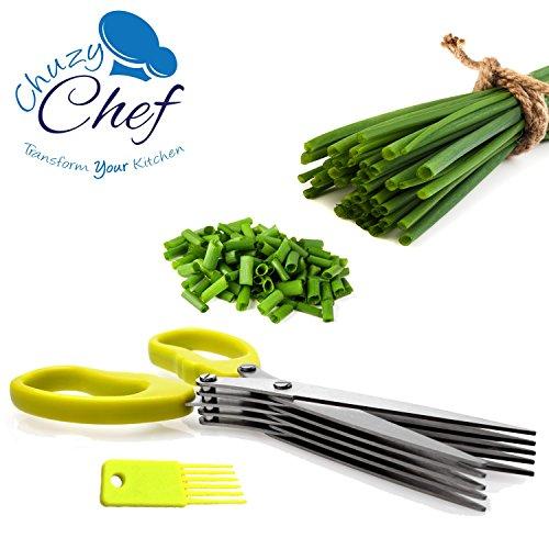 Chuzy Chef - Tijeras multiusos de cocina de acero inoxidable con 5hojas y cepillo de limpieza en verde para hierbas aromáticas
