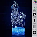 Wsnyy Fortress Night LED Lights,Loot Llama Plush Stuffed 3D Visual Bulbing lampen,Changeable USB 16 Colors Remote Control and Touch,Bedroom Decoration LED Lighting for Kids Christmas Gift