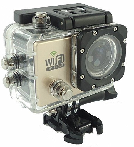 DEVELOP Waterproof Full HD Wifi Action Camera 1080P 720P 30fps 60fps 170 Degree Wide Angle Lens Mini Water Sport Camera Video Photo Cam for Cycling Diving Helmet Mount Car Recorder (Gold)