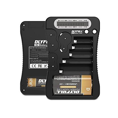 DLYFULL LCD Universal Batterietester für AA, AAA,C,D,9V Digitaler Testgerät für CR123A,CR2,CRV3,2CR5,CRP2 Batterie Testgerät für 1.5V und 3V Knopfzellen (Schwarz)