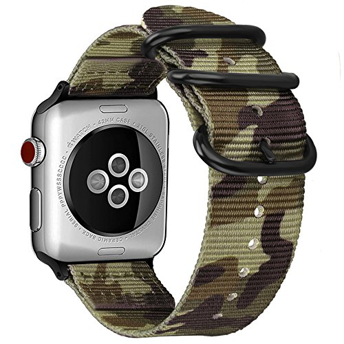 FINTIE Cinturino per Apple Watch 44mm 42mm, Nylon Tessuto Sport Regolabile Band con Fibbia Metallica Cinturini di Ricambio Accessori per Apple Watch Series 5 4 3 2 1, Camouflage Green