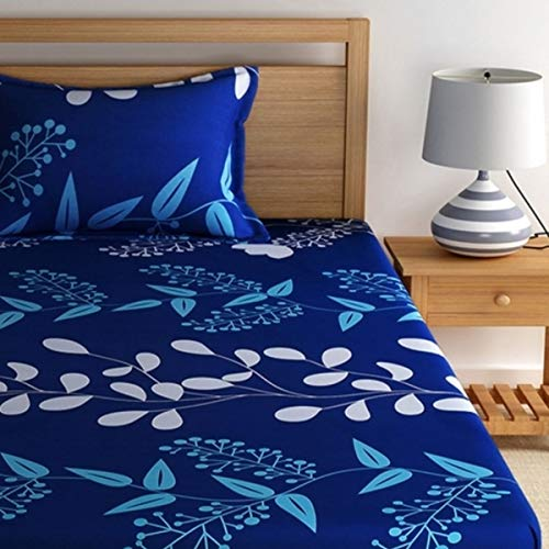 Home Ecstasy 100% Cotton Printed Bedsheet Set 3016 SGL (Blue,Single) 3