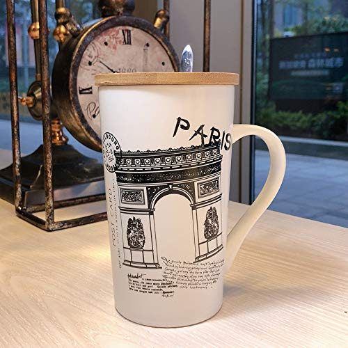 Satyam Kraft Paris Gate Printed Ceramic Coffee Mug with Wooden Lid and Spoon