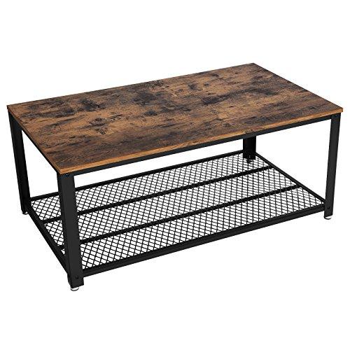 VASAGLE Tavolino da Caffè Stile Vintage, Tavolino da Salotto, Tavolo da Divano con Grande Ripiano, Stabile, Soggiorno, Struttura in Ferro, Facile da Montare LCT61X