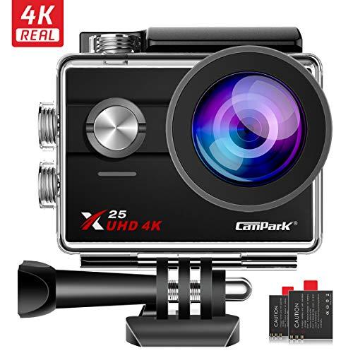 Campark X25 Action Cam Ultra HD 4K 16MP WiFi Fotocamera Subacquea 30M Impermeabile 170° Grandangolare Videocamera con 2×1050mAh Batterie e Accessori Kit Compatibile con Gopro