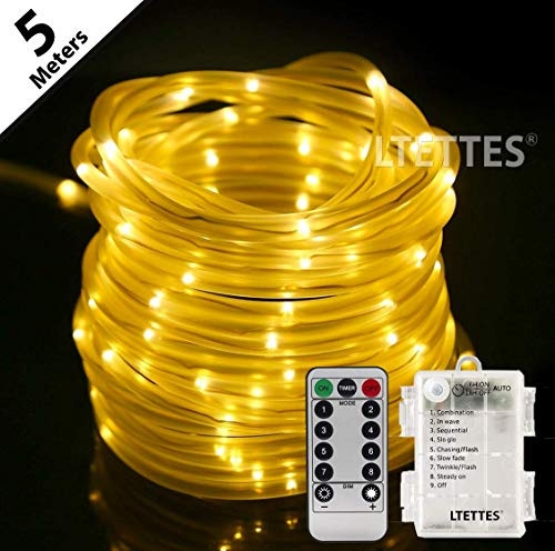 LTETTES Copper String Rope Lights TPE Tube Battery Powered Warm White String Lights for Garden,Bedroom, Path, Fence, Stairs, Backyard, Outdoor Decorative with Remote Controller (5 Meters)
