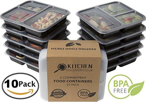 Contenedor de 3 compartimentos de comida preparada (10 envases)