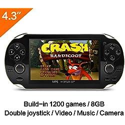CZT 10,9 cm 8 GB Spielkonsole bauen in 1200 No-Repeat Spiele Video Game Konsole Unterstützung FC/NES, SFC/SNES/GB/GBC/GBA/SMC/SMD/Sega Spiele MP3 MP5 Player unterstützt Kamera Aufnahme Retro Spie