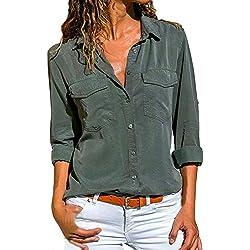 VECDY Camisa Casual De Manga Larga para Mujer Bolsillos con Cuello Abotonado Botones En La Parte Delantera Camiseta (S-Ejercito Verde, XL)