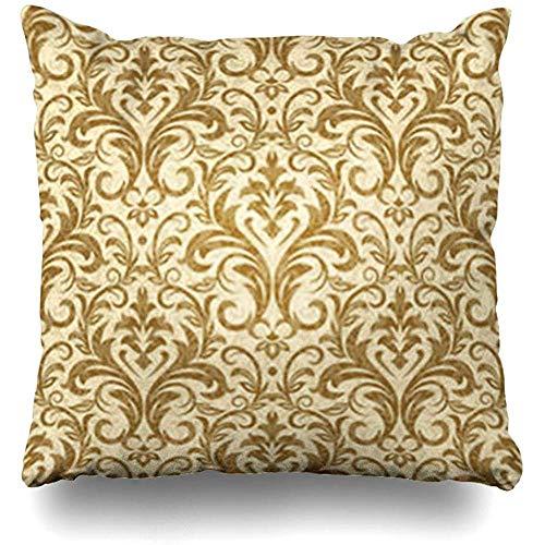 Couch Cushions Drappo Beige Damasco Oro Modello Astratto Vintage Barocco Campione Antico Confine...