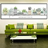 Acuarela Cactus Planta Lienzo Tamaño grande Hoja Pintura Bonsai Cuadros de pared para sala Decoración Maison Dormitorio Decoración 40x120cm sin marco