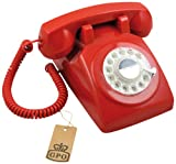 GPO 1970's Retro Style Telephone with Rotary Dial - Red