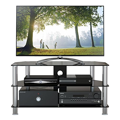 1home Mobile Porta TV di Vetro Nero per LCD LED e Plasma TV da 32' a 60' GT4